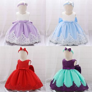 Baby Girl Formal Dress Solid Gauze Printed Bow Lace Sleeveless Baby Full Moon Dresses Girls Dresses 4-24M 07