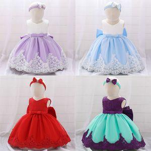 Bebek Kız Resmi elbise Katı Gazlı bez Baskılı Bow Dantel Kolsuz Bebek Dolunay Elbiseler Kız Elbise 4-24M 07