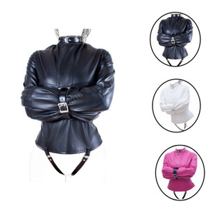 Women's Straitjacket Gimp Bag Harness PU Leather Straitjacket Bondage Restraint Adult Couple Game Straight Jacket Adults Sex Toy Y191203