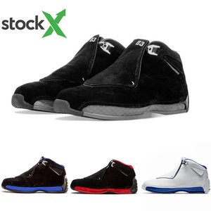 Stock X High Quality 18 Toro Red Suede Grey Blue Yellow Orange Suede Men basketball Shoes 18s Bred OG ASG Black White Sneakers