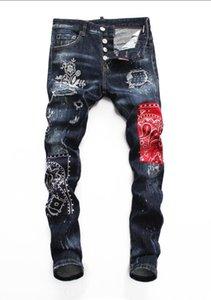 2019 Avrupa ayakta erkek kot pantolon, erkek kot pantolon, bir çift skinny jeans ve siyah işlemeli kafatasları V383