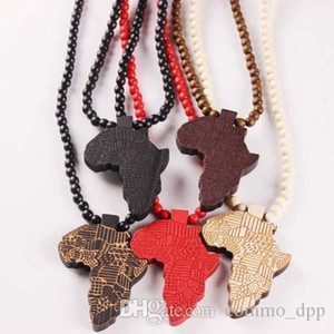 Hip Hop Wooden Map Of Africa Pendant Necklaces Wood Beads Beaded Chains For Women & Men Hiphop Jewelry Gift