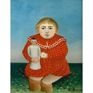 The girl with a doll by Henri Rousseau oil painting Hand painted modern art wall decor Handmade canvas
