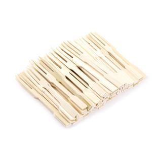 Suministros de vajilla Bambú Desechable Fruta de madera Tenedor Postre Para cóctel Tenedor Set Party Home Household Decor 160 UNIDS
