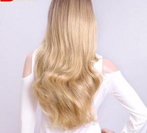 24 дюйма волнистые 3/4 половина парик длинные синтетические волосы блондинка монолитным парики клипы для женщин 210g
