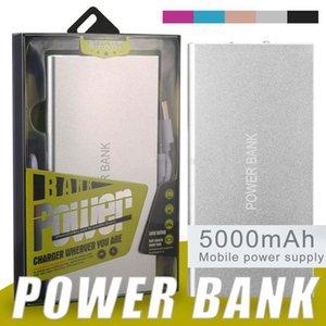 SKYLET Портативного Power Bank 5000mAh металл зарядного POWERBANK Два USB порта адаптер для сотовых телефонов Универсальных таблеток Внешней батареи с коробкой