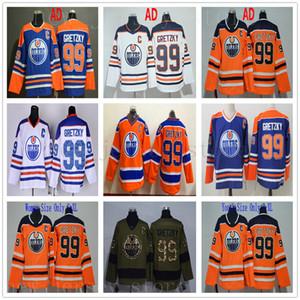 Edmonton Oilers 99 Wayne Gretzky Jerseys Hockey naranja blanco Vintage Vintage CCM Saludo al servicio Ejército Hombre Verde Mujeres Niños Jóvenes C Parche