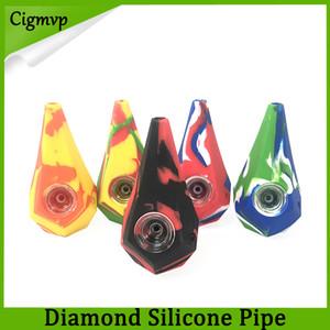다이아몬드 실리콘 흡연 파이프 물 담뱃대 봉 galss 그릇 VS 트위스트 유리 휴대용 핸드 파이프