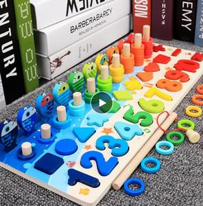 Montessori madeira Educacional Brinquedos crianças Busy Pesca Board matemática de madeira pré-escolar Montessori Toy Contagem de Crianças Geometry