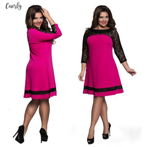 New L 6Xl Plus Size Dress Fashion Women Large Size Straight Dress Sexy Clothing Lace Stitching Sleeve Slim Midi Dresses Vestidos