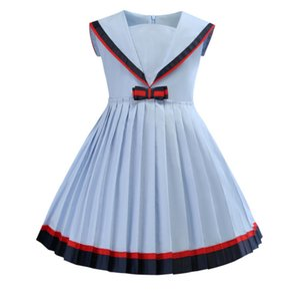 자녀의 스커트 쌰 해군 칼라 색상 충돌 대학 바람 여자 0,205 드레스 주름 치마 공주 스커트 타이드