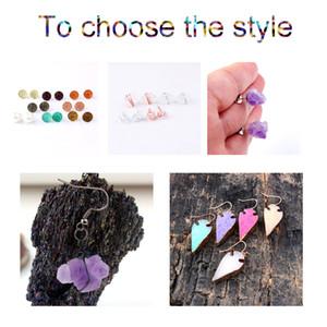 European and American cross-border Bohemian style natural stone amethyst imitation crystal clusters irregular natural earrings earrings
