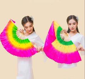 Hand Made Танцующий Имитация Шелковый Бамбук Длинные Поклонники вуали Folk Art Chinese Yangko Party Stage Performance Складная Fan Градиент
