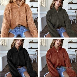 Pullover Sweatshirt Winter-Frauen Sherpa Fall Langarm VliesHoodie hohe Kragen-Plüsch-Pullover Mantel Halsband Berber-Pelz-Tops C91108
