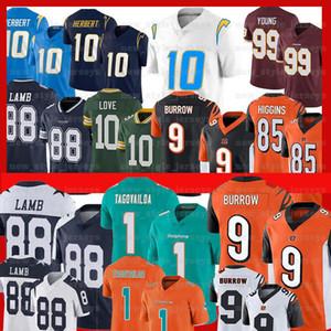 9 maglie di calcio Joe Burrow Jersey CincinnatiBengal 99 Chase Giovane 1 Tua Tagovailoa 88 CeeDee Agnello Jeffery Okudah Justin Herbert