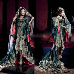 Vert foncé Inde robe manches longues Arabie Saoudite chérie robes de soirée avec Hunter Green Lace Muslim Appliques Robes de soirée