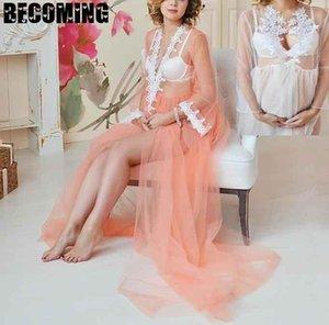 Maternity Dress For Sessão Fotográfica Maxi retalhos Vestidos grávidas brancas para mulheres plus size Gravidez vestido Photo Shoot