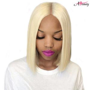 150% Densidad Frente de encaje Pelucas de cabello humano 613 Blonde Corto Bob Pelucas de encaje recto Brasileño humano Peluca recta Pre plucked