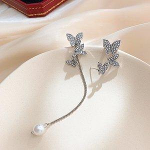 Bütün Elmas Kelebek Asimetrik Pearl Tassel Küpeler Zarif Küpeler Kadın Net Kırmızı Kulak Kemik Klibi Küpe 2020 New Stil