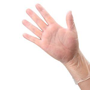 luvas descartáveis PVC luvas de plástico engrossado 3 tamanho luvas descartáveis transparentes luva de limpeza 50pcs / lot T2I5884-1