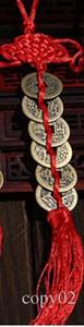 Оптово-красный китайский узел FENG SHUI Набор из 6 Lucky Charm Ancient I CHING Монеты Защита процветания Good Fortune Home Car Decor