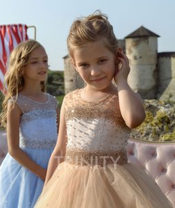New Lovely Baby Blue Organza Layers Beads Flower Girl Dresses Girls' Pageant Dresses Birthday Holidays Dresses Custom Size 2-14 FF720226