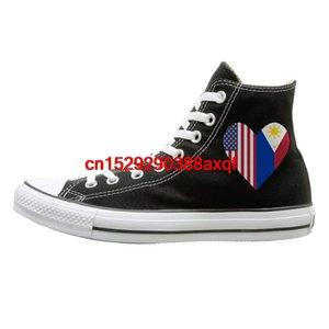 La mitad de los zapatos de lona de la bandera de Filipinas mitad EE.UU. Amor corazón de la bandera casual de alta Top zapatillas de deporte Acordonadas Para Hombres Mujeres