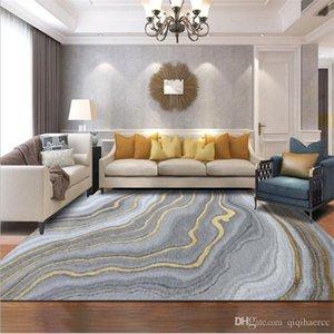북유럽 현대 추상 회색 골드 곡선 패턴 현대 거실 침실 지역 양탄자를 들어 크리스탈 벨벳 카펫 카펫