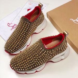 Remache de la manera zapatos de lujo rojo de las mujeres inferiores de los zapatos ocasionales de los zapatos corrientes de baloncesto Entrenadores de Fútbol plataforma zapatillas de deporte de la vendimia de las Triple S hombres
