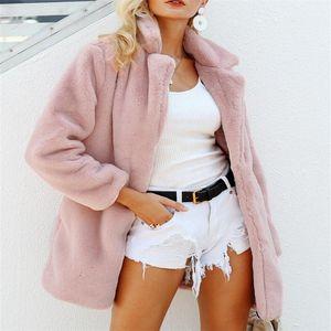 Sonbahar ve Kış Ladies'High taklit Deri kürk Palto Ceket Pembe Moda Takım Elbise Yaka Deri taklit Palto Orta S-L