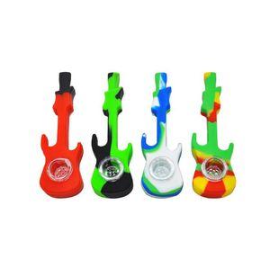 Neueste Gitarre aus Silikon-Rohren mit Glasschüssel 5 Farben 4-Zoll-Tabak-Zigaretten-Rauchen Hand Löffel Rohrwerkzeug-Zubehör Bohrinsel
