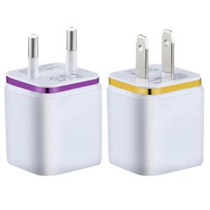100pcs Hot 2.1A metal Dual USB parede de carregamento Carregador US EU Plug AC Power Adapter carregador de parede Ligue 2 Port Para Samsung Galaxy Tabela Iphone