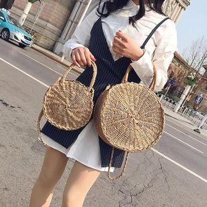 SANWOOD Mini Round Crossbody плечо сумка Солома Пляжная сумка для женщин кожа Vintage ручных плетеного тканого мешка лета