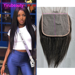 Indian Virgin Hair 7X7 Lace Closure Straight Human Hair 8-26inch Silky Straight 7 By 7 Top Lace Closure Yirubeauty Natural Color