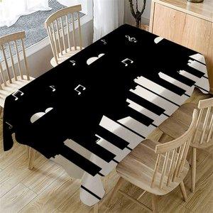 Klavier-Musik-Muster Tischdecke rechteckig Oilproof Tischdecke Essen Wohnkultur Tischdecke Rechteckige Hochzeit Dining