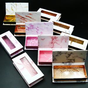 Wholesale Marble Pattern Lash Box Alse Eyelash Packaging Box Fake 3d Mink Lashes Boxes Faux Cils Strip Diamond Magnetic Case Empty