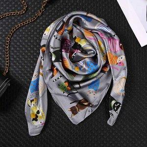2020 donne sauqre sciarpe di seta scialli signora estate sciarpa avvolge morbido pashimina spiaggia Echarpe rubato bandana