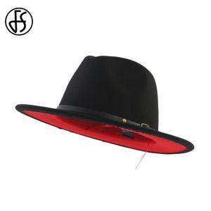 FS Siyah Kırmızı Patchwork Yün Keçe Caz Fedora Şapkalar Kemer Toka Erkekler Kadınlar Geniş Brim Panama Parti Trilby Bowler Kovboy Kap T200620