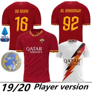 Version du joueur 2019 2020 Maillot de foot roma de Thaïlande, qualité 19 20 20 DZEKO TOTTI De Rossi PASTORE