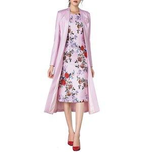 Dress Suits Women Long Sleeve Pink Floral Pencil Dress Elegant 2020 Mother of the Bride Dresses With Jacket Plus Size 2 Pcs Set