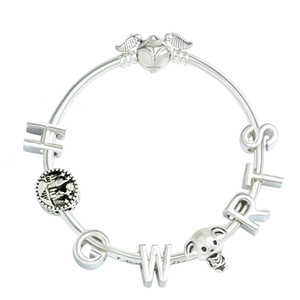 Fashion European Charm Beads DIY Bracelet for Pandora Style Letter beadsWomen's Gifts