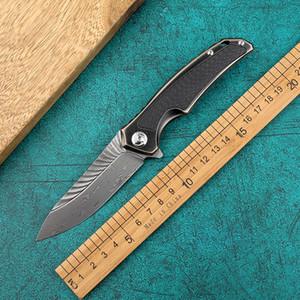 Herramienta del diablo Ala acero de Damasco de la supervivencia del campo al aire libre Caza táctico plegable del cuchillo de supervivencia al aire libre cuchillo de la herramienta EDC de Sharp