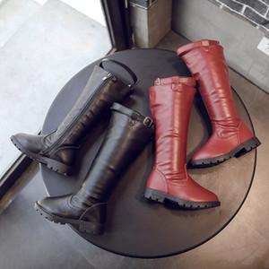 Diseñador Kid Boots niñas de lujo de alta botas de invierno botas de cuero caliente Niños Zapatos sólidos Solor estilo nuevo de la manera 2019 Otoño de la buena calidad