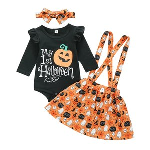 2020 Halloween Baby Outfits Letter pumpkin Printed Long Sleeved Romper+ suspender skirts + headband 3pcs set Children Clothing Sets M2195