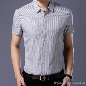 Designer Striped Mens Casual Shirts Turn Down Collar Short Sleeve Mens Shirts Summer Skinny With Single Breasted