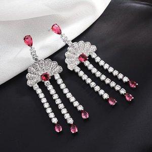 Pendientes de ventilador de plata 925 para mujer Bling Cubic Zirconia bohemio borla pendiente marca diseñador boda pendientes largos joyería