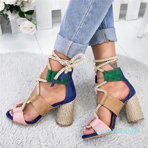 Loozykit Mode d'été Espadrilles Sandales Talon Pointu Poisson Bouche Gladiator Sandal Corde de chanvre lacées à semelle compensée C25