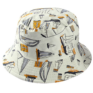 Double Side White Navy Sailboat Fisherman Hat Female Bucket Hats Women Men Hip Hop Dancer Outdoor Travel Panama Cap Bob