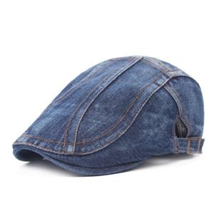 Unisex Denim Flat Vendedor de periódicos Sombrero de conducción Gorra Viaje al aire libre Hombres Mujeres Boinas simples Ajustable Gorra Ivy Cabbie Caps