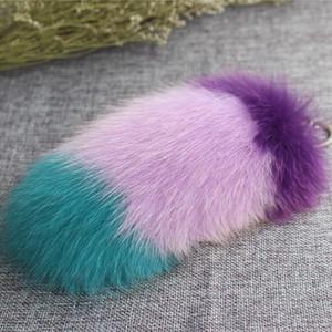 대형 정품 20CM 긴 다채로운 폭스 테일 폭스 모피 Pom Pom 키 체인 가방 참 골드 반지 털이 모피 공